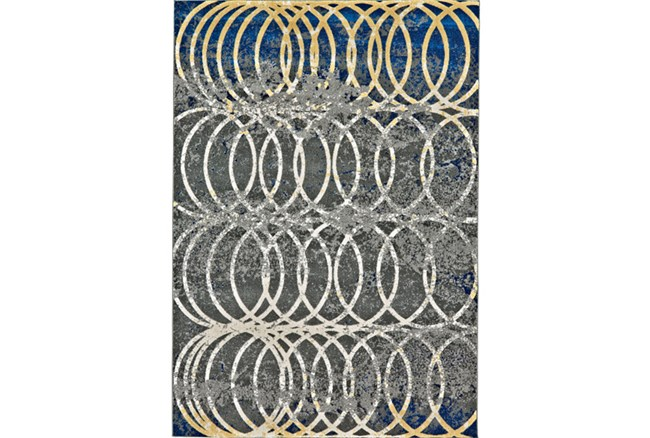 60X96 Rug-Cobalt And Yellow Faded Rings - 360