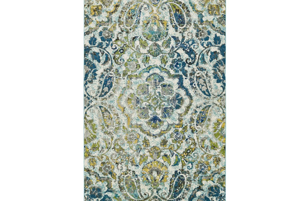 96X132 Rug-Cobalt And Yellow Large Medallion