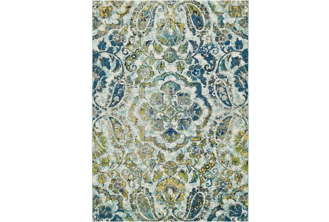 96X132 Rug-Cobalt And Yellow Large Medallion - 360