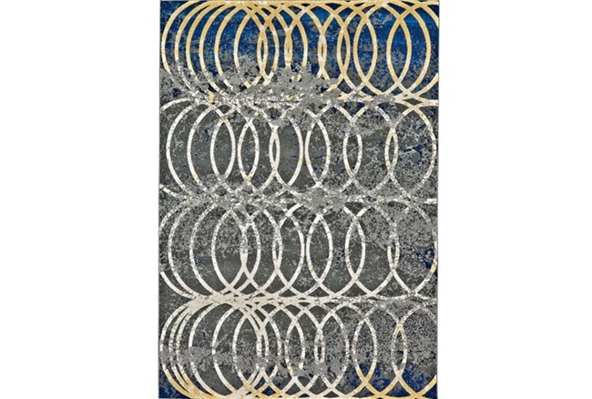 96X132 Rug-Cobalt And Yellow Faded Rings - 360