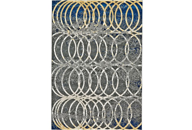 """10'x13'1"""" Rug-Cobalt And Yellow Faded Rings - 360"""