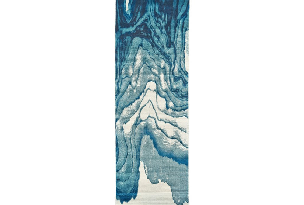 34X94 Rug-Cobalt Watercolor Tide