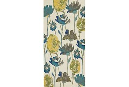 34X94 Rug-Cobalt And Yellow Floral