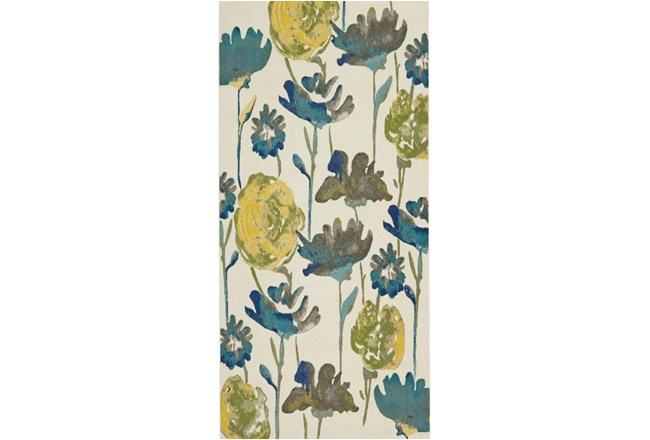 34X94 Rug-Cobalt And Yellow Floral - 360