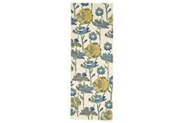 """2'8""""x7'8"""" Rug-Cobalt And Yellow Floral"""