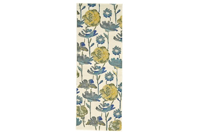 """2'8""""x7'8"""" Rug-Cobalt And Yellow Floral - 360"""
