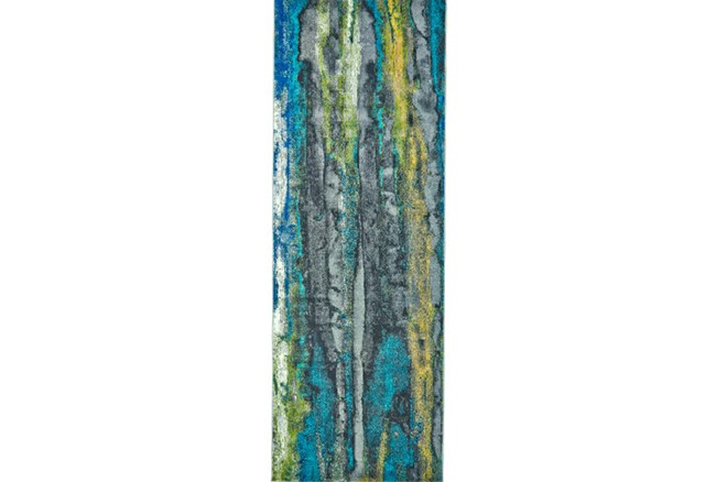 34X94 Rug-Cobalt And Yellow Faux Bois - 360