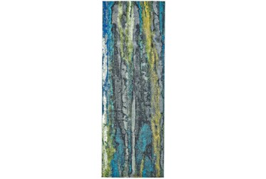 """2'8""""x7'8"""" Rug-Cobalt And Yellow Faux Bois"""