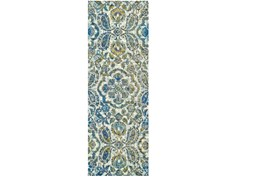 34X94 Rug-Cobalt And Yellow Large Medallion