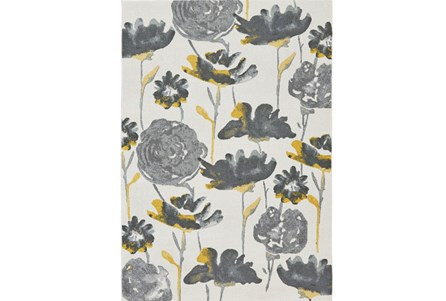 26X48 Rug-Grey And Yellow Floral