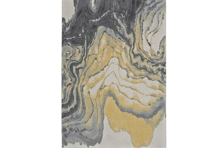 60X96 Rug-Grey And Yellow Marbled Swirl - Main