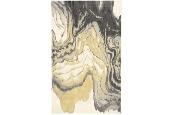 5'x8' Rug-Grey And Yellow Marbled Swirl