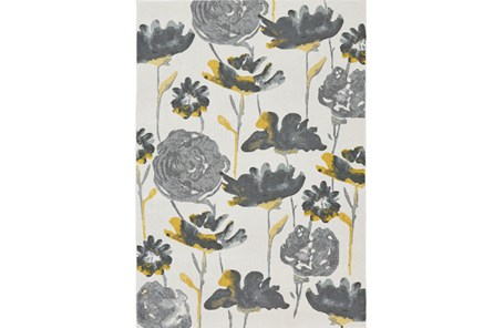 96X132 Rug-Grey And Yellow Floral - Main