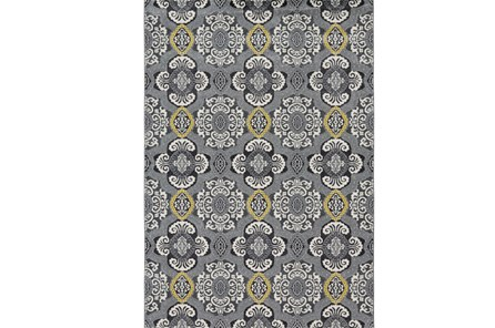 96X132 Rug-Grey And Yellow Traditional Medallions - Main