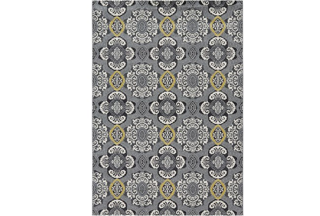 96X132 Rug-Grey And Yellow Traditional Medallions - 360