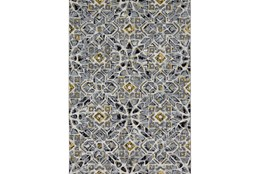 96X132 Rug-Grey And Yellow Moroccan Tile