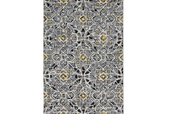 96X132 Rug-Grey And Yellow Moroccan Tile - 360