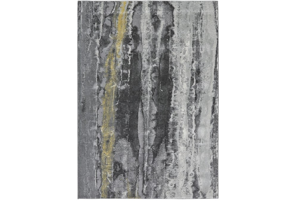 """10'x13'1"""" Rug-Grey And Yellow Faux Bois"""