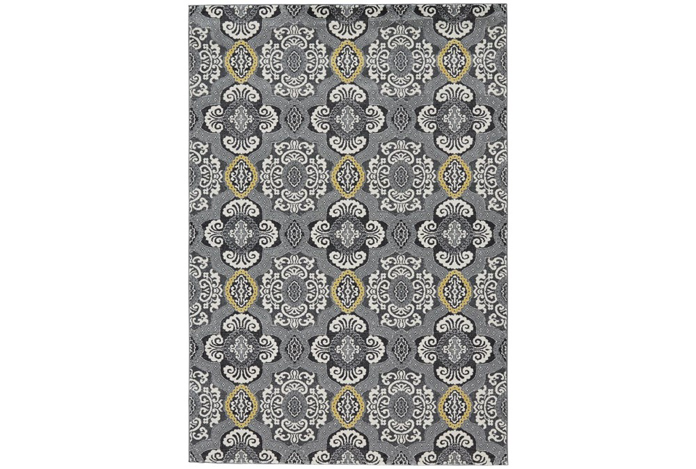 """10'x13'1"""" Rug-Grey And Yellow Traditional Medallions"""