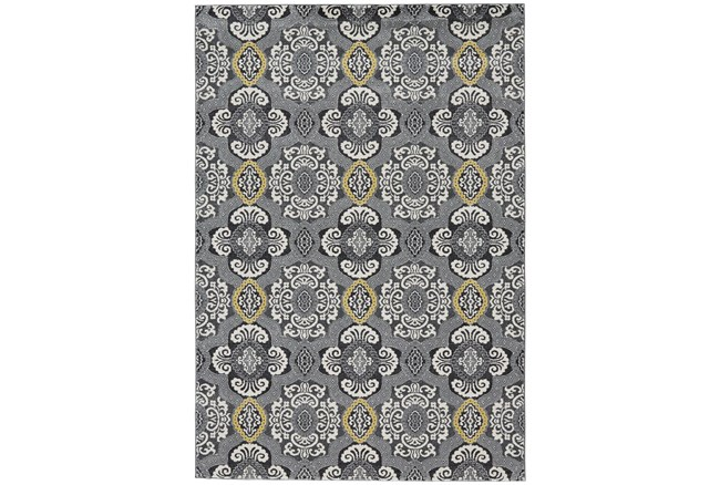 """10'x13'1"""" Rug-Grey And Yellow Traditional Medallions - 360"""