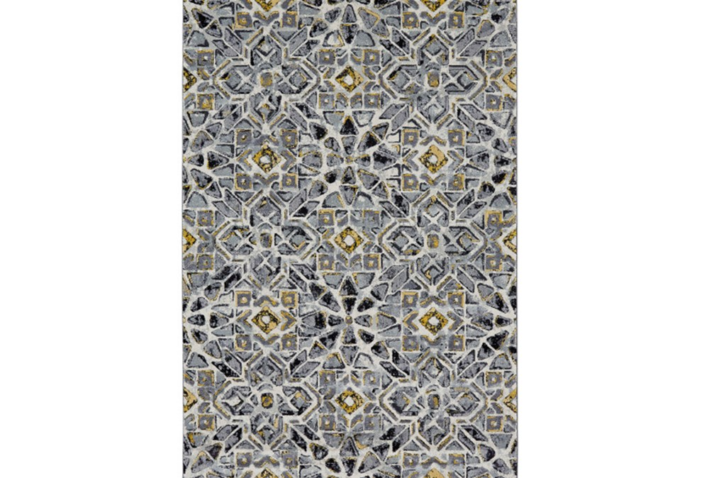 120X158 Rug-Grey And Yellow Moroccan Tile