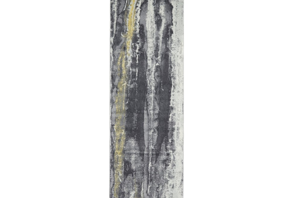 34X94 Rug-Grey And Yellow Faux Bois