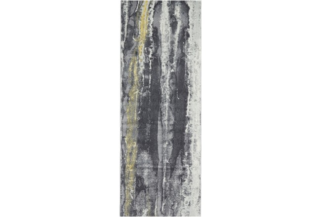34X94 Rug-Grey And Yellow Faux Bois - 360