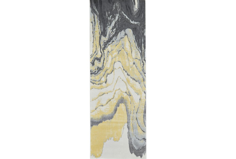 34X94 Rug-Grey And Yellow Marbled Swirl