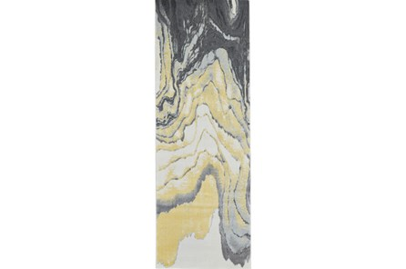 34X94 Rug-Grey And Yellow Marbled Swirl - Main