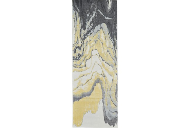 34X94 Rug-Grey And Yellow Marbled Swirl - 360