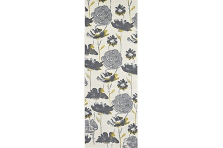 34X94 Rug-Grey And Yellow Floral