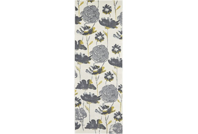 34X94 Rug-Grey And Yellow Floral - 360