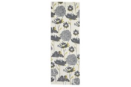 """2'8""""x7'8"""" Rug-Grey And Yellow Floral"""
