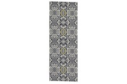 """2'8""""x7'8"""" Rug-Grey And Yellow Traditional Medallions"""