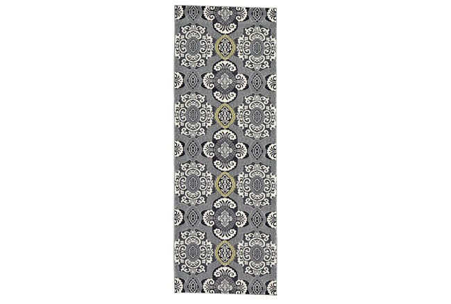 """2'8""""x7'8"""" Rug-Grey And Yellow Traditional Medallions - 360"""