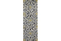 34X94 Rug-Grey And Yellow Moroccan Tile
