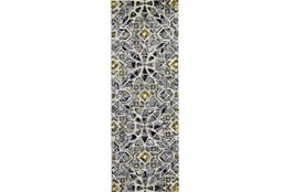 "2'8""x7'8"" Rug-Grey And Yellow Moroccan Tile"