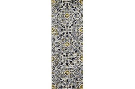 34X94 Rug-Grey And Yellow Moroccan Tile