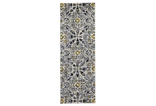 "2'8""x7'8"" Rug-Grey And Yellow Moroccan Tile - 360"