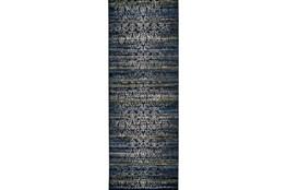 34X94 Rug-Cobalt Distressed Tapestry