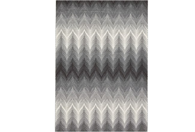 96X132 Rug-Charcoal Ombre Flamestitch - 360