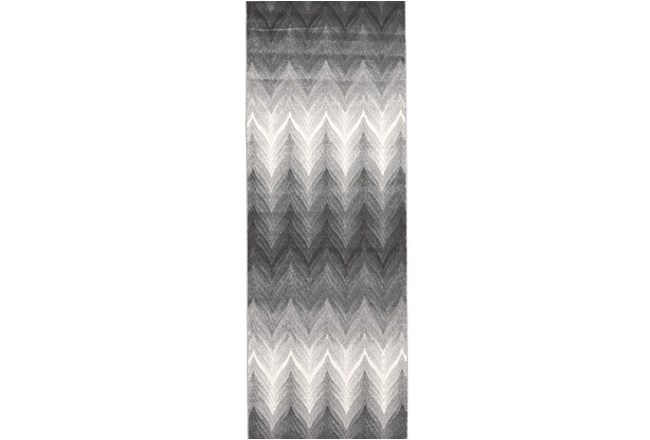 34X94 Rug-Charcoal Ombre Flamestitch - 360