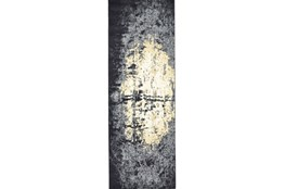 34X94 Rug-Grey And Ivory Burnout