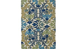 26X48 Rug-Cobalt And Yellow Damask