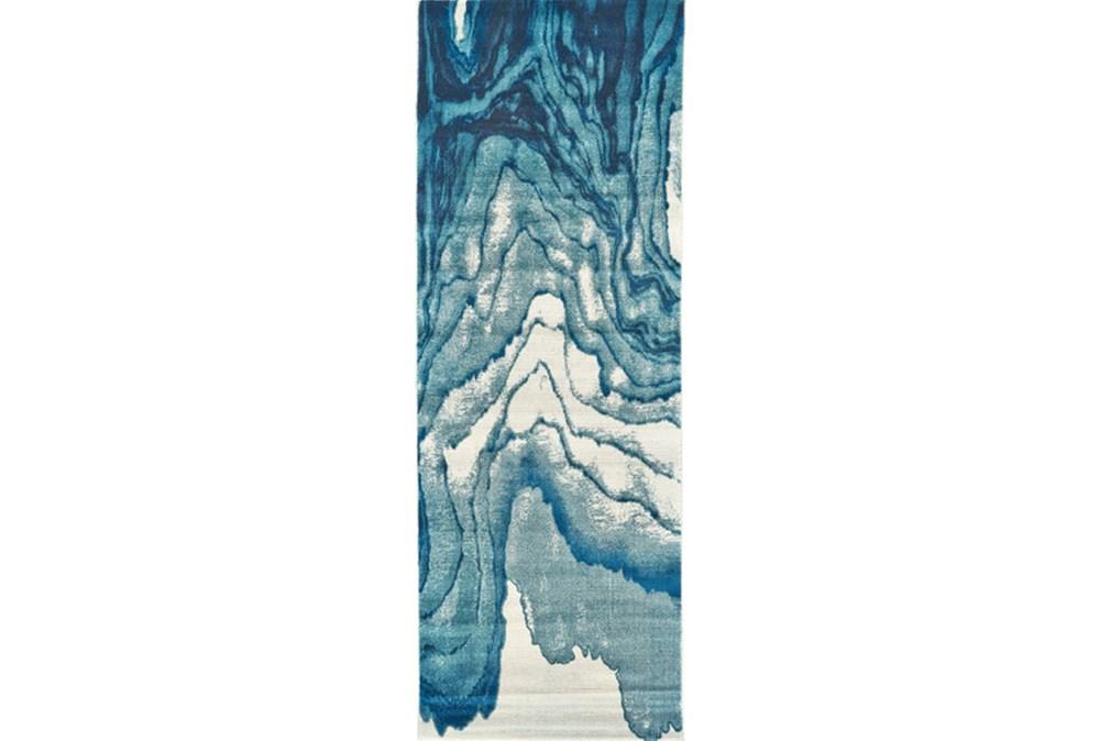 34X142 Rug-Cobalt Watercolor Tide