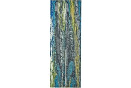 """2'8""""x11'8"""" Rug-Cobalt And Yellow Faux Bois"""
