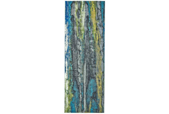 "2'8""x11'8"" Rug-Cobalt And Yellow Faux Bois - 360"