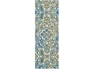 """2'8""""x11'8"""" Rug-Cobalt And Yellow Large Medallion"""