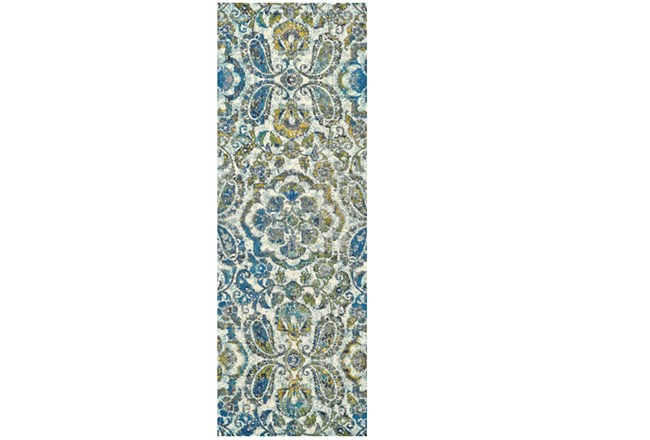 34X142 Rug-Cobalt And Yellow Large Medallion - 360