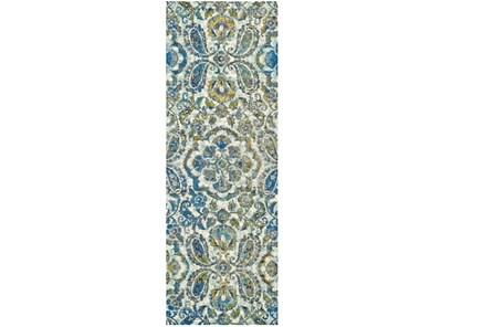 34X118 Rug-Cobalt And Yellow Large Medallion